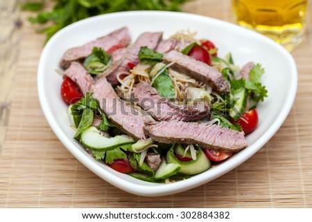 Thai beef salad - stock photo