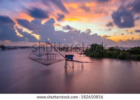 thai big fishing net - stock photo