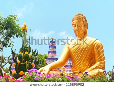 Thai Buddha Golden Statue . This is traditional and generic style in Thailand. No any trademark or restrict matter in this photo. - stock photo