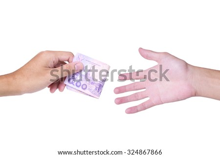 Thai cash in left male hand with right male hand on white background