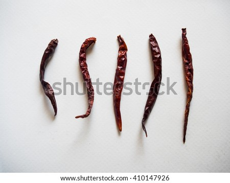 Thai chili. Dried peppers. Chili. Spicy. Hot spicy.