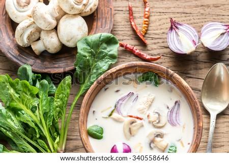 Thai coconut cream soup - stock photo