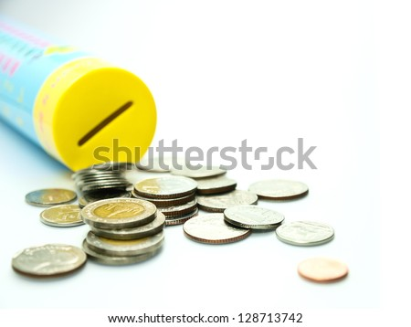 thai coin and money box - stock photo