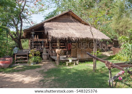 Thai cottage style designed with low platform and basement for temporary living in the rice field for grow rice or for agricultural