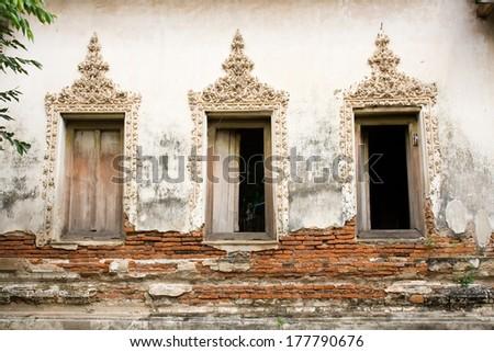 thai craft windows on the temple  - stock photo