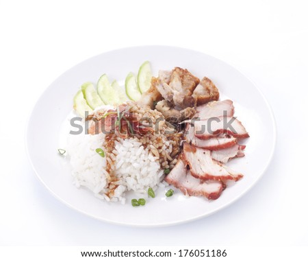 thai cuisine ,BBQ Pork and Crispy Pork with Rice
