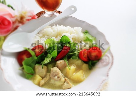 Thai cuisine,  chicken Green Curry and iced tea