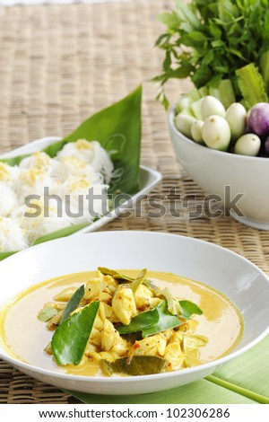 Thai Cuisine - crab curry and rice vermicelli