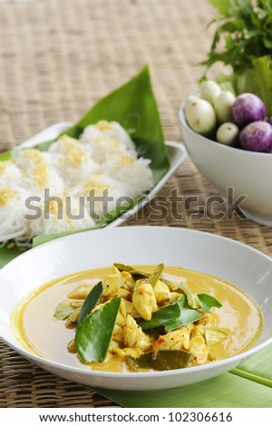 Thai Cuisine - crab curry and rice vermicelli - crab spicy curry