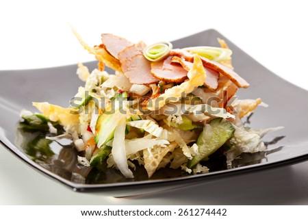 Thai Cuisine - Pork with Fresh Vegetables - stock photo