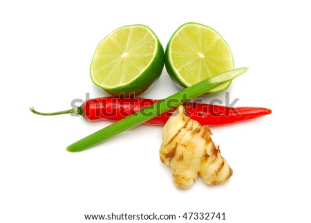 thai curry ingredients isolated on white