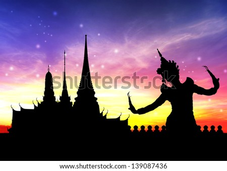 thai dance perform by young woman silhouetted with temple in thailand background - stock photo