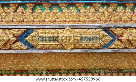 Thai decorative arts at Buddhism church area - stock photo