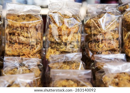 "Thai dessert called "" Khanom Kong"" Cake wheel Thai dessert. - stock photo"