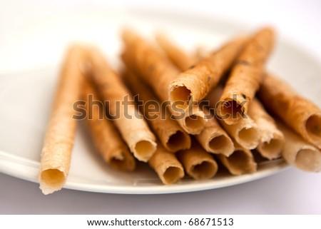 thai dessert, coconut sticks - stock photo
