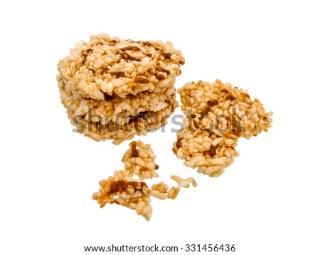 Thai Dessert, Rice crispy isolated on white background