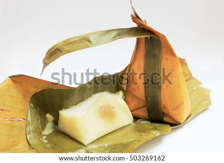 thai dessert wrapped by banana leave
