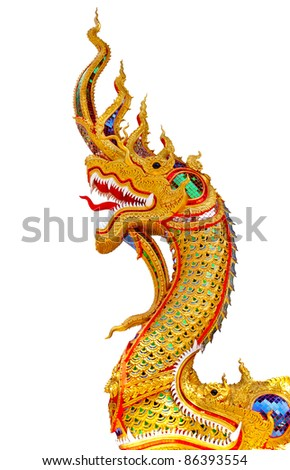 Thai dragon or king of Na-ga statue on white background