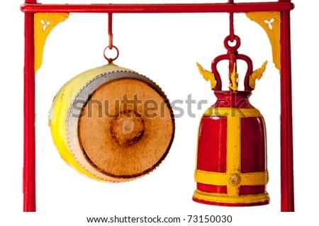 Thai Drum and Red Bell - stock photo