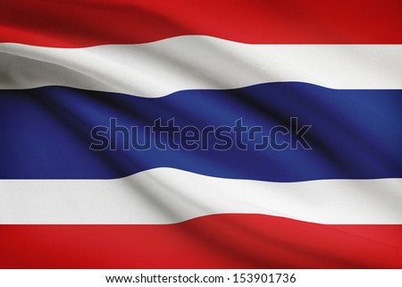 Thai flag blowing in the wind. Part of a series.