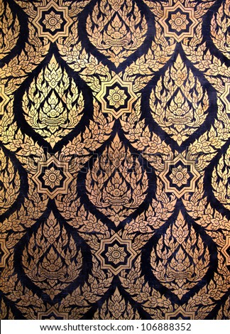Thai floral pattern design on wall