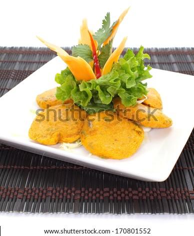 Thai Food Fish Cake Tod Mun Pla - stock photo