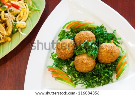 Thai Food Fish Cake (Tod Mun Pla) shot from above perspective - stock photo
