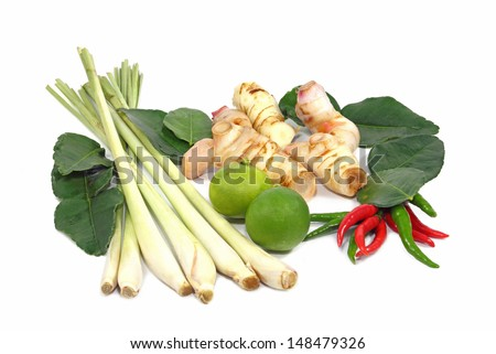 Thai food ingredient for Tom yum isolated on white - stock photo