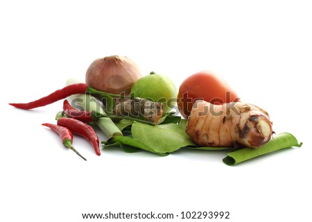 Thai food ingredient for Tom yum kung isolated in white backgroud - stock photo