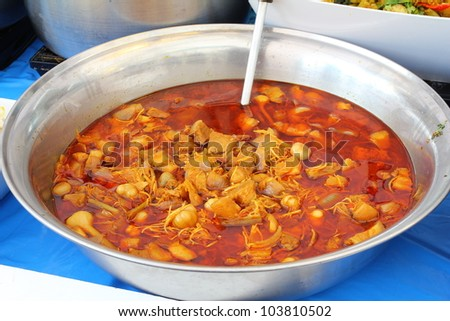 Thai food massaman curry in Big Bowl - stock photo