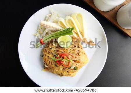 Thai food padthai fried noodle with shrimp - stock photo