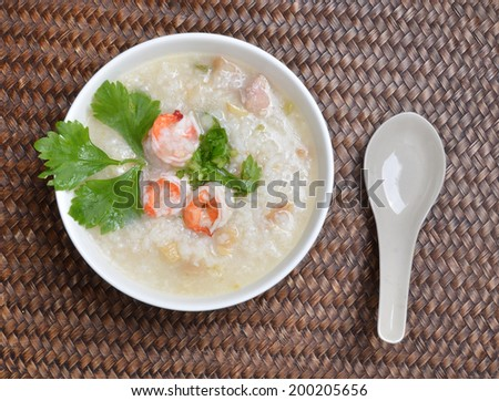 thai food, prawns with boiled rice
