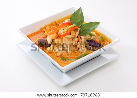 Thai Food Red Curry Chicken - stock photo