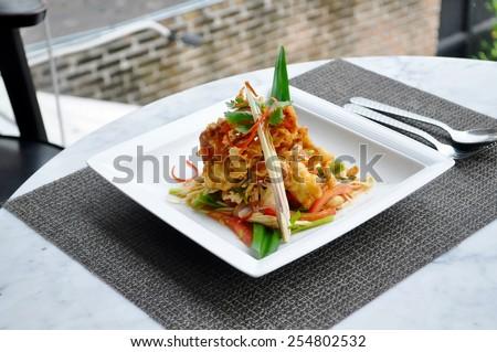 Thai food - Soft crab spicy salad - stock photo