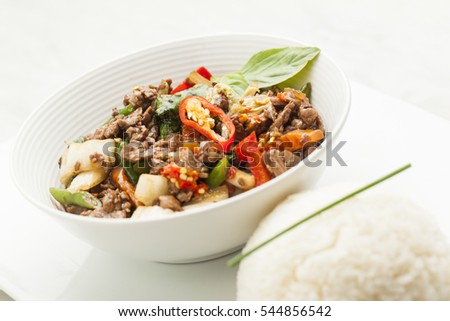 Thai food Spicy Beef  basil and rice