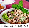 Thai food, spicy minced pork with chili and mint - stock photo