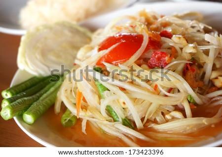 Thai Food, Spicy Papaya Salad. - stock photo