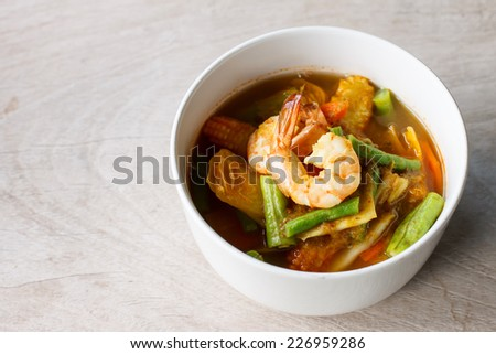Thai food : spicy sour soup vegetable with shrimp - stock photo