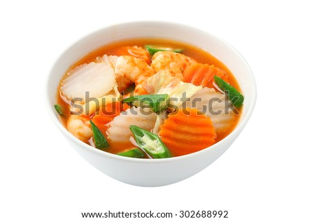 Thai food : spicy sour soup vegetable with shrimp