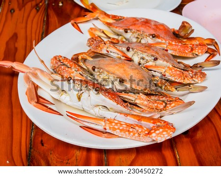 Thai food, steamed crab - stock photo
