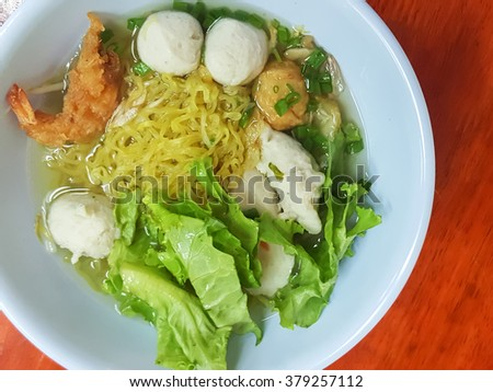 Thai food style:A prawn noodle soup served with pork and meatballs