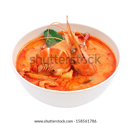 Thai Food Tom Yum Goong - stock photo