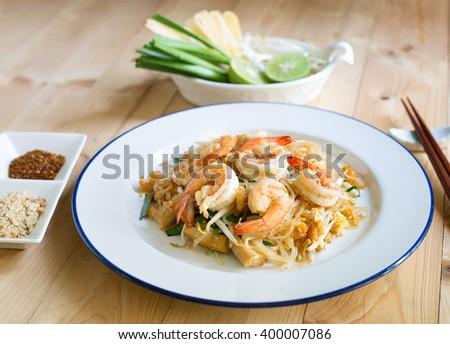 Thai fried noodle with fresh prawn (Thai name  Pad Thai) Thai food - stock photo