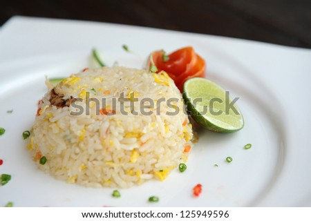 Thai fried rice with crab meat - stock photo