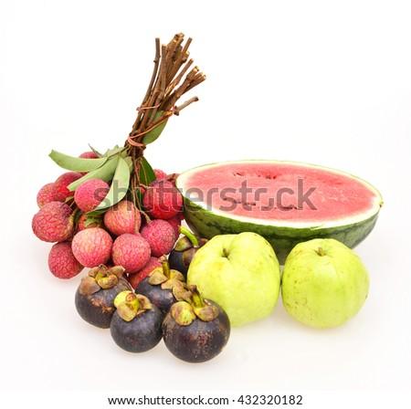 Thai fruits on white background,Mixed fruits background,Fresh fruits. - stock photo