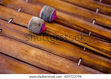 Thai gamelan musical equipment,mahori or gamelan is a form of Thai classical ensemble which was traditionally played, Thailand,Traditional wooden xylophone - stock photo