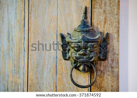 Thai Giant head Door knocker on all wood door. & Thai Door Stock Images Royalty-Free Images \u0026 Vectors | Shutterstock Pezcame.Com