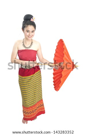 Thai girl dressing with traditional style, Isolated on white - stock photo