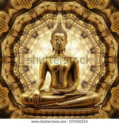 Thai golden Buddha on Oriental gold ornament texture background. - stock photo