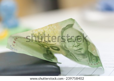 Thai green bank note with soft background